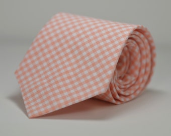 Peach Necktie, Peach Gingham Tie, Coral Necktie, Wedding, Custom Necktie, Cotton Necktie, Groomsmen Tie