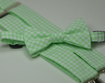 Mint Gingham Bow Tie and Suspender Set, Boy's Bow Tie, Boy's Suspenders, Mint Green, Spearmint, Wedding, Ring Bearer Outfit, Toddler, Baby