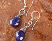 MINI SAPPHIRE LEAF - O O A K - One Of A Kind Faceted Sapphire Briolette Petite Sterling Silver Earrings