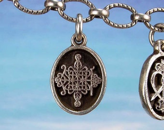 PETITE MEDAL - VOODOO - Papa Legba Veve Pendant in Sterling Silver, Bronze, 14K Gold