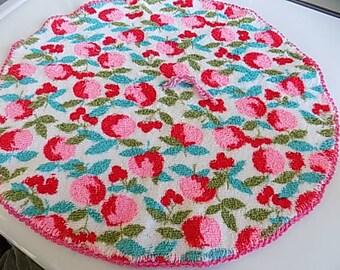 Vintage Dish Towel Mod Floral Flower Hand Made Wash Cloth Kithen Towel
