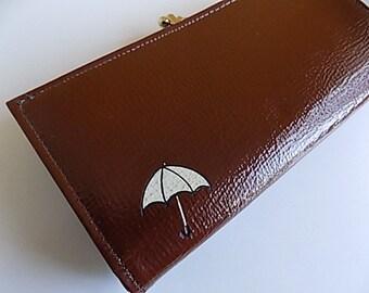 Vintage Brown Pattent Leather Vinyl Wallet with Umbrella Design