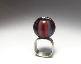 Glass + Silver Marble Ring. One Of A Kind Jewelry. Modern Pink Flamework Wearable Art.