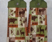 SET of 2 - Hanging Cloth Top Kitchen Hand Towels - Green Scroll Print - Larger Cabin Wildlife Print Towels