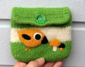 Felted pouch purse apple green white wool bag cozy hand knit needle felted little birdie bird and mushrooms