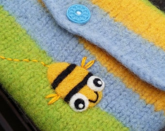 Felted bag pouch purse bag hand knit needle felted blue green yellow wool needle felted busy bee