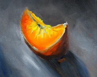 Small Kitchen Wall Decor, Original Oil Painting, Citrus Fruit, Orange Slice, 6x6 Canvas, Small Tropical Fruit Slice, Gray Minimalist Design