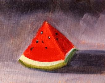 Watermelon Still Life, Original Red Melon Oil Painting, Small 4x5 Canvas, Little Summer Food Wall Decor Kitchen Art, Miniature Minimalist