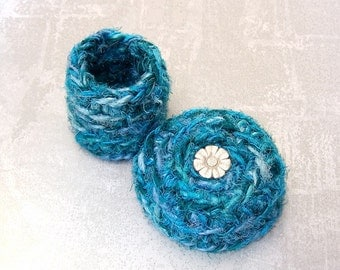 Teal Blue Small Lidded Basket - Silk Tapestry Basket with Silver Daisy Flower - Handmade Shelf Decor Basket - I Love You Gift for Her STB068