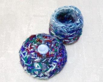 Teensy Ring Gift Box - Silk Tapestry Treasure Trinket Keepsake Embellished with Mod Glass Button - Unique Aqua Blue Shelf Decor Gift STB080