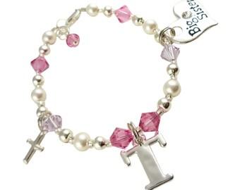 Initial, Cross Big Sister bracelet - custom swarovski colors for girls- rose pink & violet