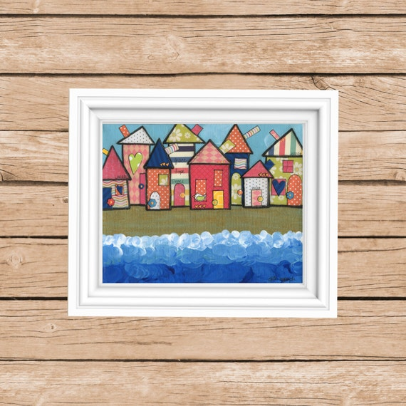 Beach art whimsical mixed media print colorful houses by the sea Beach house decor bright folk art Original art by Alli Rogosich