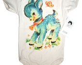 Organic Deer Onsie, Baby Bodysuit, Shirt, baby layette, infant top, 3, 6, 12, or 18 months