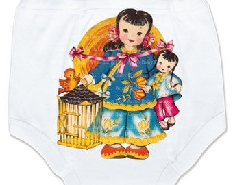 Potty Pants, Asian Girl, Chinese Pants, Girl's Bottoms, Training Underwear, Undies, Trainer Pants, Vintage Graphic Potty Pants, 2T, 3T