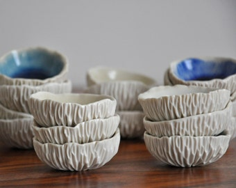 Tiny Crackle Geode Bowl - Choice of Color - Small Ceramic Bowl  Gift for Her  Salt Dish Blue White Ceramic Bowl Porcelain Dish
