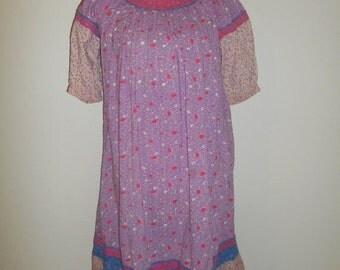 SALE Vintage short midi     dress  70s     Cotton       Made in India Indian gauze      boho bohemian gypsy hippie hippy dresses