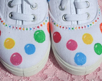 Gumball Shoes, Hand painted canvas, toddler size 9,10