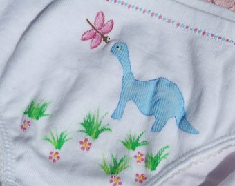 DINOSAUR UNDERWEAR,girls panties,blue,hand painted