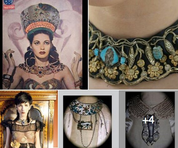RESERVE CUSTOM This is a Boudoir Queen Design since 2004 Theda Bara Egyptian Revival Necklace Collar