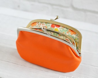 Women's Leather Wallet with Divider Bright Orange