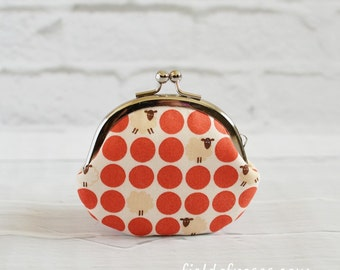Clasp Change Coin Purse Kawaii Sheep Earbud Holder Polka Dot Coral Red