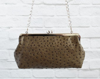 Women's Ostrich Embossed Leather Frame Clutch with Chain Bag Handbag On Sale