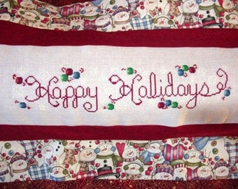 Happy Holidays Cross Stitch Pattern
