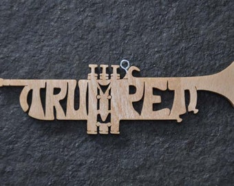 Trumpet Band Instrument Ornament  Wooden Toy Hand Cut with Scroll Saw