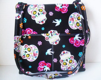 Sugar Skull Crossbody Bag - Sling messenger bag - Skull Bag - Messenger Bag - Ipad Bag - Crossbody - Zipper Bag - Day of the dead