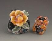 3 boro/borosilicate handmade artisan lampwork glass bead, Redside Designs, SRA