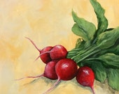 """Radishes II  6"""" x 6"""" Original Still Life Painting on Ampersand Gessobord by Torrie Smiley"""