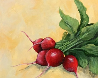 "Radishes II  6"" x 6"" Original Still Life Painting on Ampersand Gessobord by Torrie Smiley"