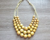 Yellow Statement Necklace - Bib Necklace - Multi Strand Necklace