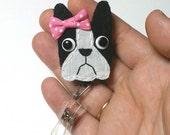Boston Terrier Badge Reel,Boston Terrier Badge Card Holder,Boston Terrier,Dog,ID Holder,Nursing Name Badge Holder,Badge Reel,Retractable