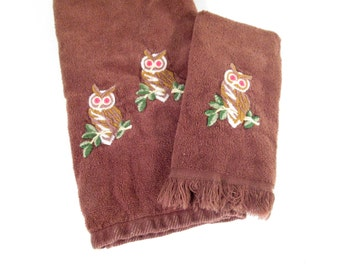 Vintage towel set, hand towel and finger towel, brown with owls