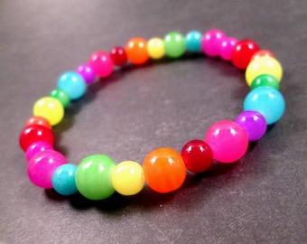 Rainbow Stretch Bracelet, Colorful Glass Beaded Bracelet, FREE Shipping U.S.