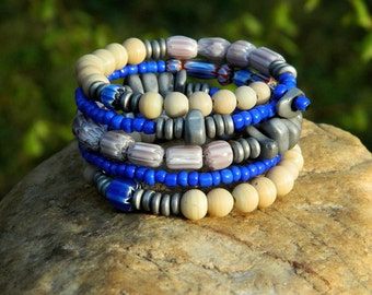 Blue Chevron Glass Beads and Indonesian Glass Bead Boho Coil Bangle