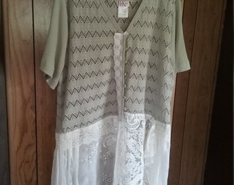 Upcycle Sage Shabby Sweater Romantic Sage Sweater Size 24 Romantic Sweater