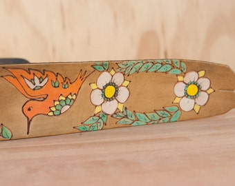 Guitar Strap - Leather Guitar Strap - Colibri - Hummingbird and flowers - Handmade leather in coral, green, white and antique brown -