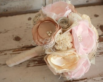 Blush pink bouquet, Blush and champagne wedding bouquet, Bridal bouquet, Fabric flower keepsake bouquet, blush and champagne bridal bouquet