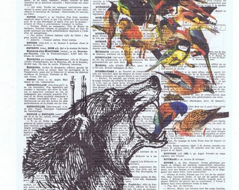 Wolf,Collage.Birds.Antique,birthday. Animal,Vintage Book Page.Gift,Paper.altered art,french.dad.powerful.fantasy.howl.avian.strong.courage