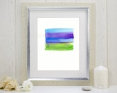 "Original abstract color field watercolor painting: ""Field"""