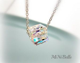 Swarovski Crystal Cube Necklace. Simple Crystal Necklace. Bridesmaids Jewelry. Wedding. Bridal