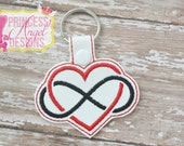 Infinity Heart Embroidered Key chain  - Infinity Heart Snap Tab - Luggage Tag - Backpack Tag