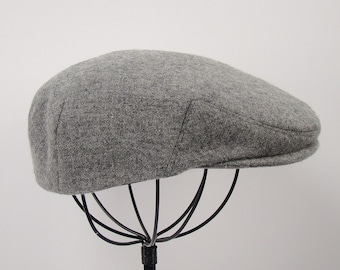 Light Grey Heather Wool Children's Sixpence Hat -  Flat Jeff Cap, Ivy Cap, Driving Cap for Men, Women, and Children
