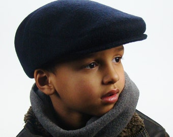 Navy Wool Men's Sixpence Jeff Hat -  Flat Jeff Cap, Ivy Cap, Driving Cap for Men, Women, and Children
