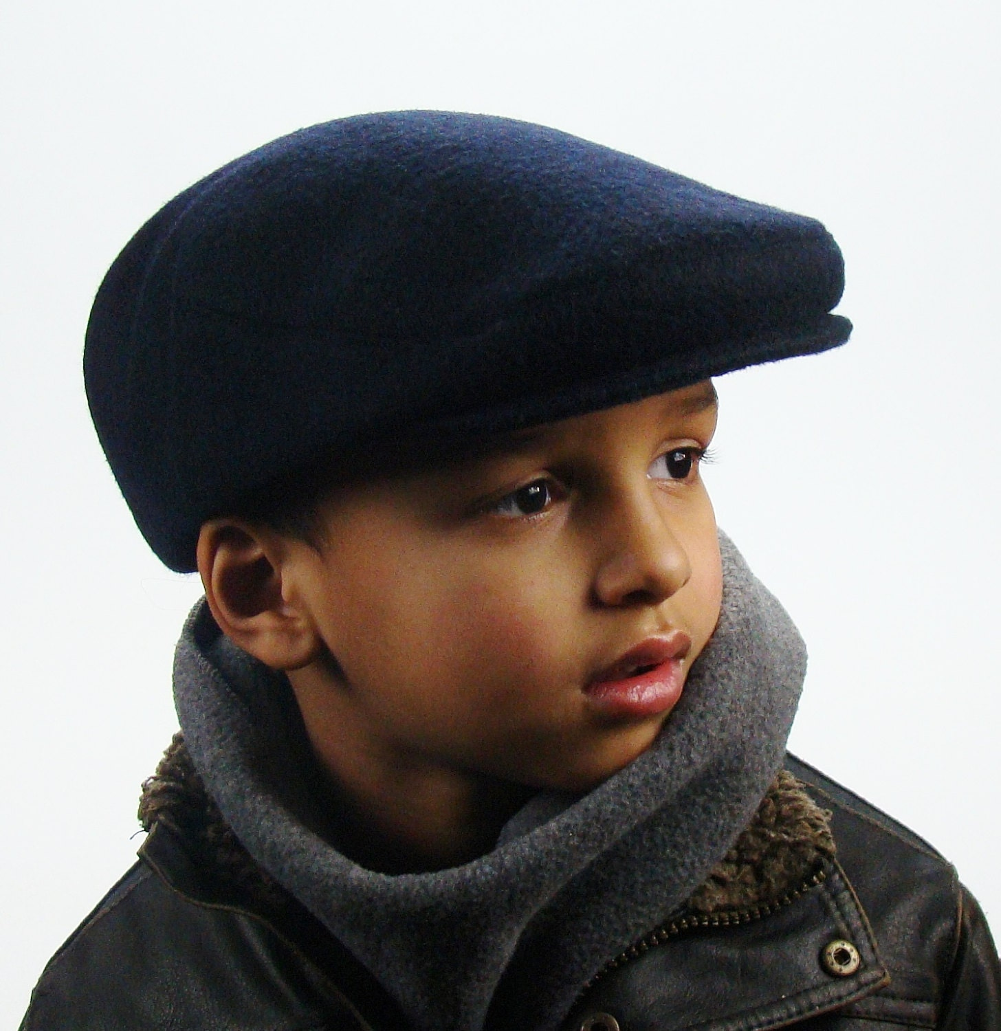 Navy Wool Sixpence Jeff Hat - Flat Jeff Cap, Ivy Cap, Driving Cap for Men, Women, and Children