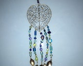 Blue glass bead heart swirl windchime