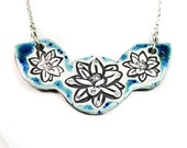 Lotus Flower Sparkle Surly Ceramic Necklace With Rhinestone Chain