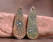 Bronze Metal Clay Earring Pair Dangles Daggers Rustic with Patina Divine Spark Designs SRA